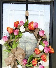 Spring Tulip Wreath  20 Tulip Stems, Grapevine wreath, Burlap Ribbon