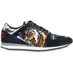 Kenzo Women 20mm Tiger Print Satin & Suede Sneakers ($228) ❤ liked on Polyvore featuring shoes, sneakers, tiger stripe shoes, kenzo, rubber sole shoes, suede sneakers and suede leather shoes