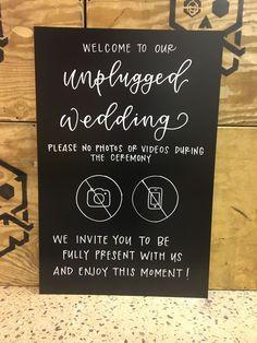 Unplugged Ceremony Chalkboard Sign - Welcome Chalkboard - Wedding Signage - Illustrations
