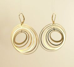 2D>3D Gold Small Concentric Earrings from Melissa Borrell