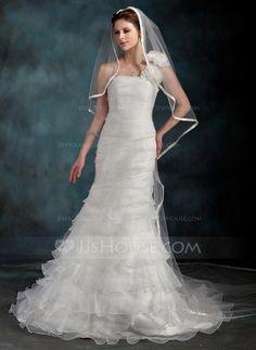 Wedding Dresses - $233.99 - Trumpet/Mermaid One-Shoulder Court Train Organza Wedding Dress With Flower(s) Cascading Ruffles (002000626) http://jjshouse.com/Trumpet-Mermaid-One-Shoulder-Court-Train-Organza-Wedding-Dress-With-Flower-S-Cascading-Ruffles-002000626-g626