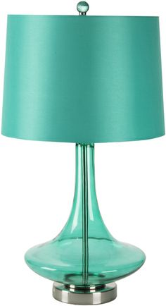 Like a shiny gemstone, this lamp has a beautiful teal glass base and matching shade. From Surya.  (ZOLP-005)