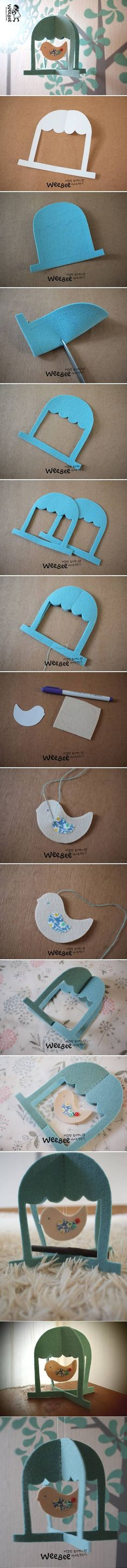 DIY Cute Felt Bird Cage Mobile