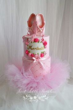 The Pink Tutus are made for decoration & to keep as a keepsake💕By Sweet Little Morsels Ballet Cakes, Dance Cakes, Ballerina Cakes, Ballerina Birthday Parties, Ballerina Party, Birthday Cake Girls, Birthday Cakes, Diy Birthday, Girly Cakes