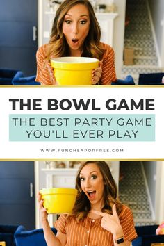 Fun party games are a great way to get people feeling comfortable and having fun. The Bowl Game is about to become your new favorite group game! Party Games Group, Office Party Games, Adult Party Games, Adult Games, Fun Games, Games To Play, Funny Group Games, Party Games For Adults, Fun Cooking Games