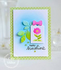 Card by Kay Miller using PS Gift Tags 2 dies, Foliage 1 dies, Bow dies, Summer Lovin