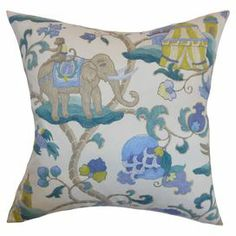 "Throw pillow with an elephant motif and down-feather fill. Made in the USA.     Product: PillowConstruction Material: Cotton cover and 95/5 down fillColor: TealFeatures:  Insert includedHidden zipper closureMade in the USA Reversible with the same fabric on both sidesClean knife-edge finishDimensions: 18"" x 18""Cleaning and Care: Spot clean  For the master… I wasn't sure about the stripes for the bedding (even though I like the colors); I'd like something where I could use things like this."