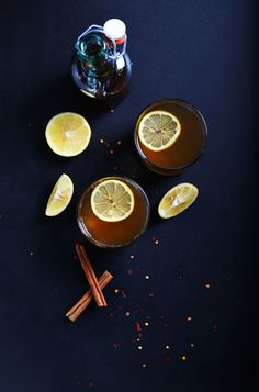 Easy Hot Toddy infused with chili, cinnamon, lemon and bourbon! #vegan!