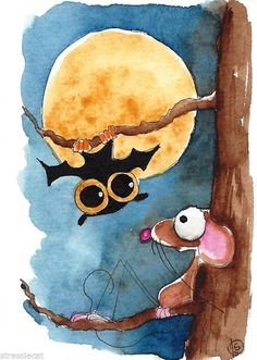 A night with bat - Halloween ACEO