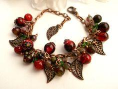 Berries bracelet autumn bracelet dark red bracelet chunky