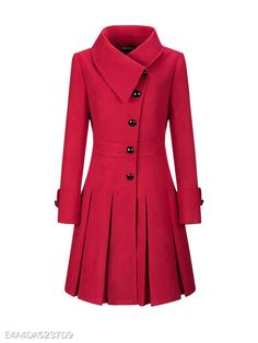 Honwenle Women Winter Fold Over Collar Single Breasted Plain Swing Woolen Long Coat Overcoat,Red,XX-Large Modelos Fashion, Stylish Coat, Schneider, Coat Dress, Look Fashion, Trendy Fashion, Fall Fashion, Trendy Outfits, Spring Outfits