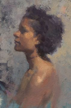 """""""Lanoir"""" - Aaron Coberly, oil on canvas, 2014 {contemporary figurative #impressionist art female african-american black woman face portrait profile #naturalhair cropped painting #loveart} aaroncoberly.com"""