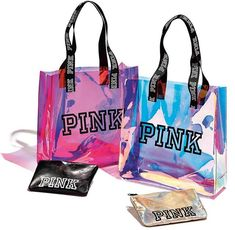 """Brand new with tags Victoria's Secret PINK Reusable Tote Bag Limited Edition Metallic Silver Hologram / Iridescent design with bold White Logo. Extra large tote 23 """" x Black straps Lightweight Victoria Secrets, Victoria Secret Rosa, Givenchy, Balenciaga, Valentino, 5 Logo, Pink Tote Bags, Pink Accessories, Pink Nation"""