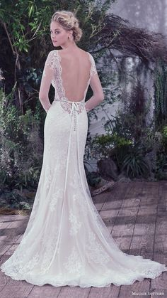 maggie sottero bridal fall 2016 illusion long sleeves vneck sheath lace open back wedding dress / http://www.himisspuff.com/open-back-wedding-dresses/10/