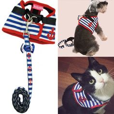 Bro'Bear Adorable Soft Velcro Cat/Dog Safety Walking Mesh Sailor Vest Harness   Matching Lead Leash Set(Can Be Pet and Kitty and Puppy Car Vehicle Seat Harness/Halloween Classics Collection Costume/Photo Apparel/Holiday Wear/Clothes Party Coat) *** Details can be found by clicking on the image. (This is an Amazon affiliate link)