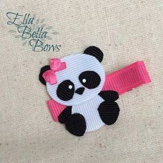 Items similar to Giant Panda Bear Ribbon Sculpture Hair Clip, double layered, handmade in the USA, Hand Painted eyes, customize the accent colors on Etsy Ribbon Hair Clips, Felt Hair Clips, Hair Ribbons, Ribbon Art, Diy Hair Bows, Ribbon Crafts, Ribbon Bows, Felt Crafts, Barrettes