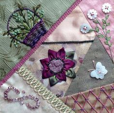 I ❤ crazy quilting, beading  ribbon embroidery . . . Cathy's Block ~Embellished by Sue