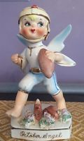 VTG Geo Lefton Japan October Birthday Boy Angel Football Figurine Sticker #556