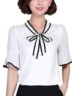 Mulheres Blusa Casual Plus Sizes / Moda de Rua Verão,Estampado Vermelho / Branco / Preto Poliéster Colarinho Chinês Manga Curta Média