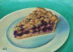 Marion Stephan - Ein Stück Blaubeerkuchen #marionstephanfineart, #cakepainting, #cake