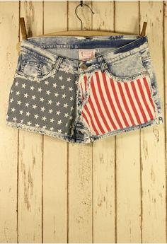 American Flag Washed Denim Shorts