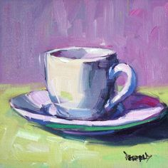 My main interest in painting subjects is the challenge of capturing how light falls on objects. And this demitasse cup is white, so it is re… My main interest in painting subjects is the challenge of capturing how light fa… Painting Still Life, Still Life Art, Coffee Cup Art, Christmas Gift Sets, Small Paintings, Pictures To Paint, Fabric Painting, Painting Inspiration, Art Lessons