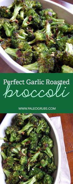 Roasted Broccoli (I Could Eat This Everyday) This garlic roasted broccoli is my favorite! It is so addictive, I could eat it everyday.This garlic roasted broccoli is my favorite! It is so addictive, I could eat it everyday. Vegetable Side Dishes, Vegetable Recipes, Broccoli Side Dishes, Veggie Side, Vegetarian Recipes, Cooking Recipes, Healthy Recipes, Delicious Recipes, Cooking Ribs