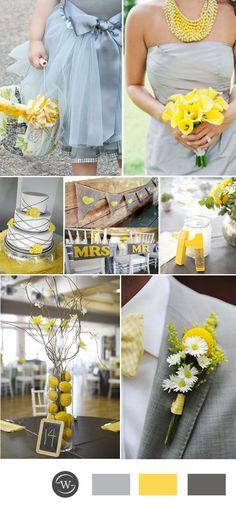 yellow and gray wedding color ideas for 2017