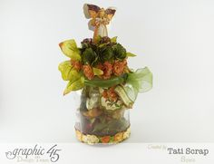 Need a way to store your flowers? Try out this great idea from Tati Scrap using An Eerie Tale! An altered jar to carry all your flowers #graphic45