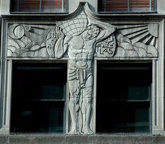 Art Deco bas relief Atlas, McGraw Hill Bldg, Chicago