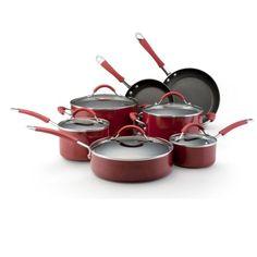 KitchenAid Aluminum Nonstick 12-Piece Cookware Set, Red at http://suliaszone.com/kitchenaid-aluminum-nonstick-12-piece-cookware-set-red/