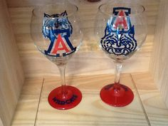 Hand Painted Arizona Wildcats Wine Glass on Etsy, $21.95