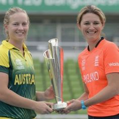 Australia captain Meg Lanning and England captain Charlotte Edwards pose with ICC Womens World trophy ahead of the final Best Player, Finals, Charlotte, England, Australia, Poses, World, Shopping, Figure Poses