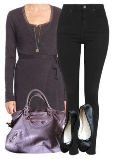 """Lavender Balenciaga Bag & Wrap Cardigan"" by coolchick1630 ❤ liked on Polyvore featuring Hanro, Topshop, Balenciaga, Repetto and ALDO"