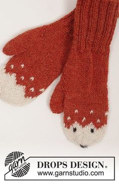 "Miss Fox / DROPS Extra - Set consists of: Knitted DROPS mittens, hat and socks with fox pattern in ""Alpaca"". - Free pattern by DROPS Design Knitted Mittens Pattern, Crochet Mittens, Crochet Gloves, Crochet Toys Patterns, Knitting Patterns Free, Free Knitting, Baby Knitting, Knitted Hats, Hat Crochet"