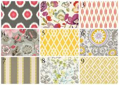 Fabric choices for a gray room