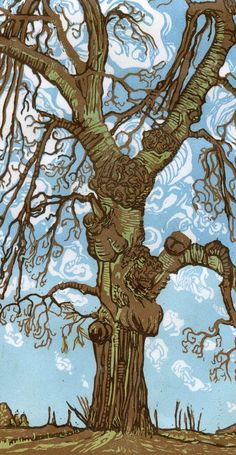 Two Trees: an exercise in reduction linocut