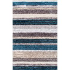 Havenside Home Siesta Handmade Striped Plush Shag Rug (5' x 8')