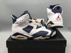 Nike Air Jordan 6 Retro White/Midnight Navy/Varsity Red 384664 130