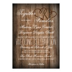 Rustic Country Double Hearts Wood Wedding Invites 4.5