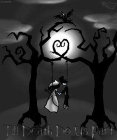 Til death do us part Emo Art, Goth Art, Dark Fantasy Art, Dark Art, Dark Gothic Art, Emo Kunst, Arte Emo, Creepy Art, Till Death