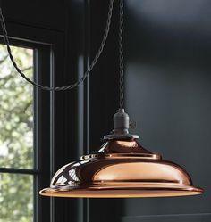 Rejuvenation Copper: Baltimore Classic Cloth-cord Plug-in Pendant