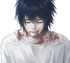 I know it's Death note but doesn't he look like a vampire here? Death Note Fanart, L Death Note, Death Note Near, Manga Anime, Anime Art, Deidara Wallpaper, Otaku, L Wallpaper, Eyeless Jack