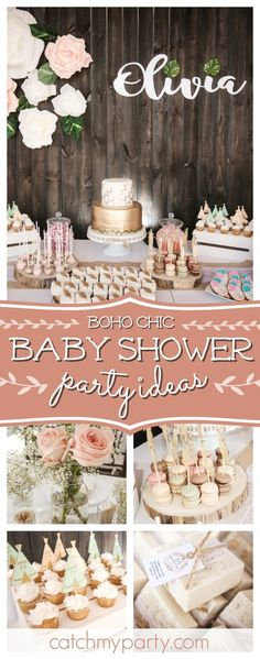 Take a look at this gorgeous Boho Chic Baby Shower! The dessert table is stunnin. - Take a look at this gorgeous Boho Chic Baby Shower! The dessert table is stunning! Deco Baby Shower, Baby Shower Brunch, Baby Shower Table, Baby Shower Cakes, Baby Boy Shower, Girl Baby Showers, Baby Shower Desserts, Girl Baby Shower Decorations, Boy Baby Shower Themes