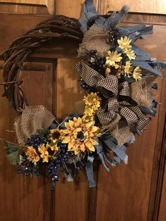 Fall Decor for your Front Door. An Autumn Country Cottage design. Featuring shredded denim, blue berries, and sunflowers. Country charm that can honestly be used in any room. Get ready for fall add something unique to enhance your curb appeal. Country Charm, French Country, Handmade Christmas, Christmas Diy, Handmade Shop, Handmade Gifts, Country Wreaths, Best Home Business, Autumn Wreaths