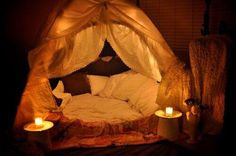 Turn a tent into a cuddle fort. Perfect for a date night in!