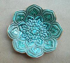Full Malachite Green Ceramic Lotus Ring Dish by dgordon on Etsy, $16.00