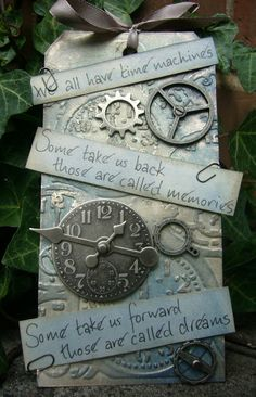 Time Machine - Tim Holtz findings, Jeremy Irons quote - by Alison Bomber at Words and Pictures Altered Books, Altered Art, Card Tags, Gift Tags, Atc Cards, Mini Albums, Ideas Decoracion Navidad, Handmade Tags, Thinking Day