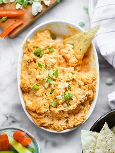 Buffalo Chicken Cheese Dip in the crockpot or slow cooker