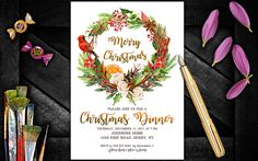 Christmas Dinner invitation, Christmas Party invitations, Christmas invitations instant download, Christmas invites, Christmas Party invite by PrintablesForEvents on Etsy